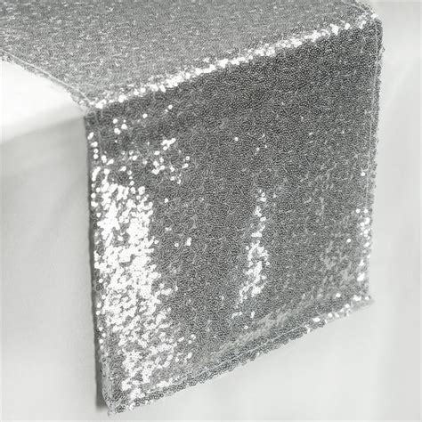 sequin silver gray table runner various sizes by