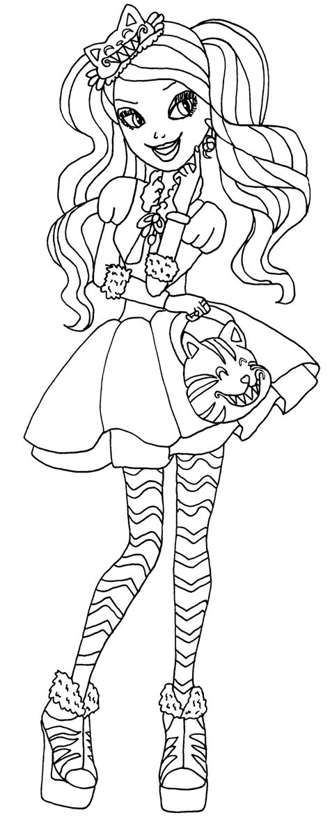 ever after high coloring pages by elfkena kitty cheshire by elfkena on deviantart