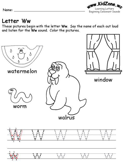 Letter W Worksheets by Beginning Consonant Sound Worksheets
