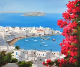 Wall Decor Home Goods santorini greece white house red flowers blue sea seascape