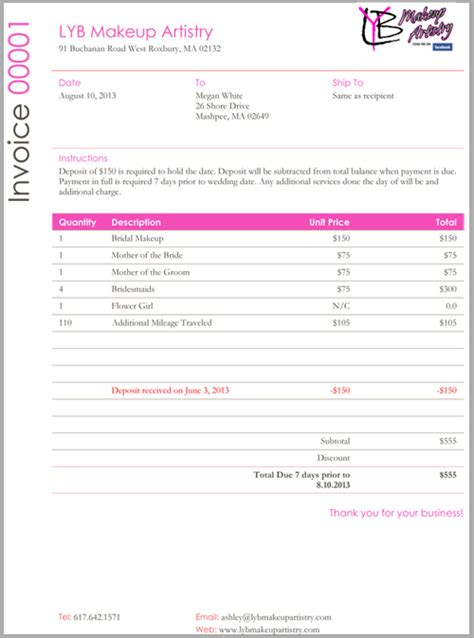 freelance makeup artist invoice template makeup vidalondon