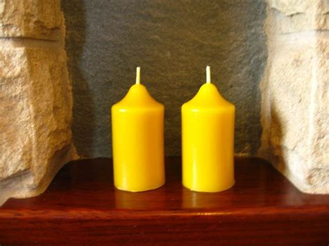 Handmade Beeswax Candles - 2 handmade beeswax church candles 7 5cm x 4cm