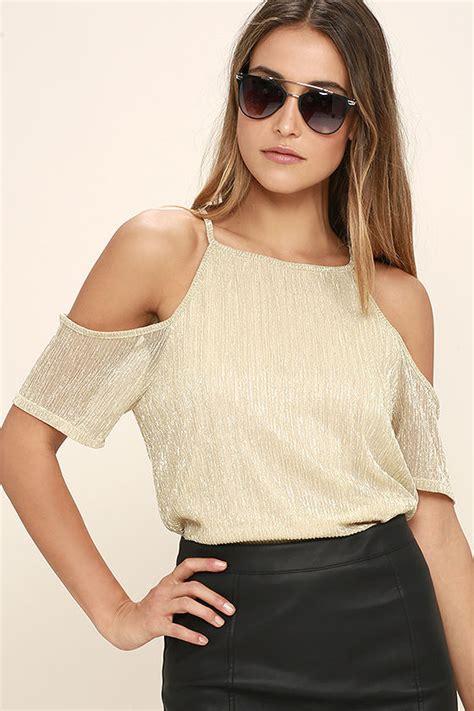 Blouse Sabrina Top Shoulder Blouse gold top the shoulder top sleeve top 34 00