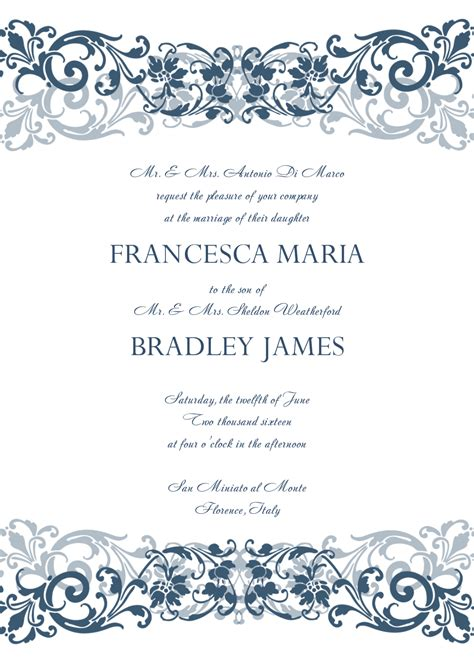 free printable wedding invitation templates 8 free wedding invitation templates excel pdf formats