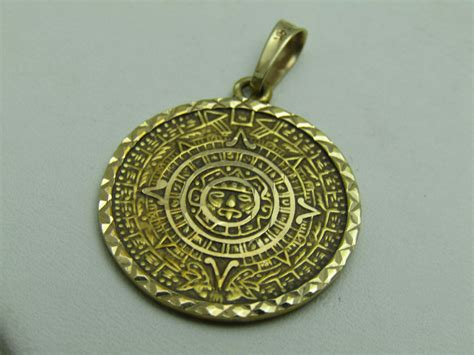 14k yellow gold jewelry pendant medallion aztec mayan