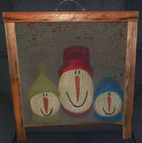 crafting homemade handmade repurposed acrylic painted primitive country christmas snowman screens
