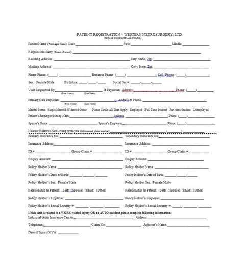 44 new patient registration form templates printable