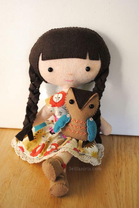 doll felt emily and owl felt doll pattern iris