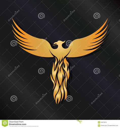 gold phoenix logo stock vector image 53870616