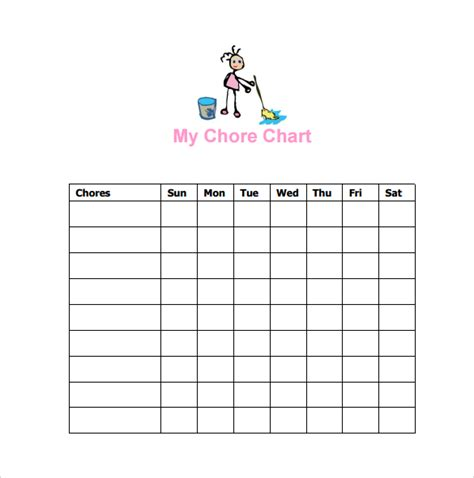 10 Sle Chore Chart Templates Sle Templates Chore Chart Template Word