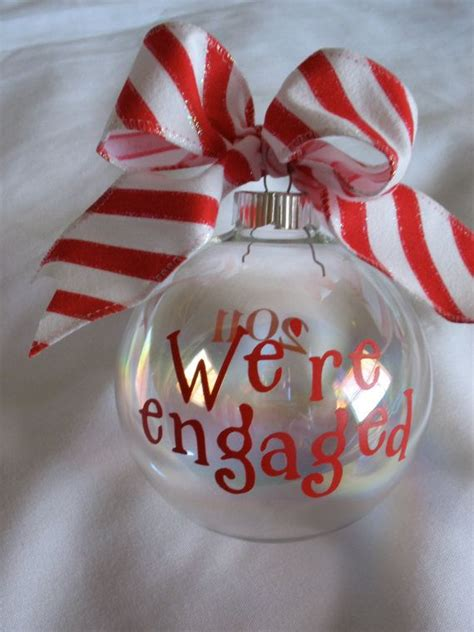 we re engaged christmas ornament stick it diy ornaments