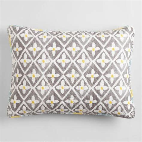 grey yellow pillows yellow and gray allison pillow shams set of 2 world market