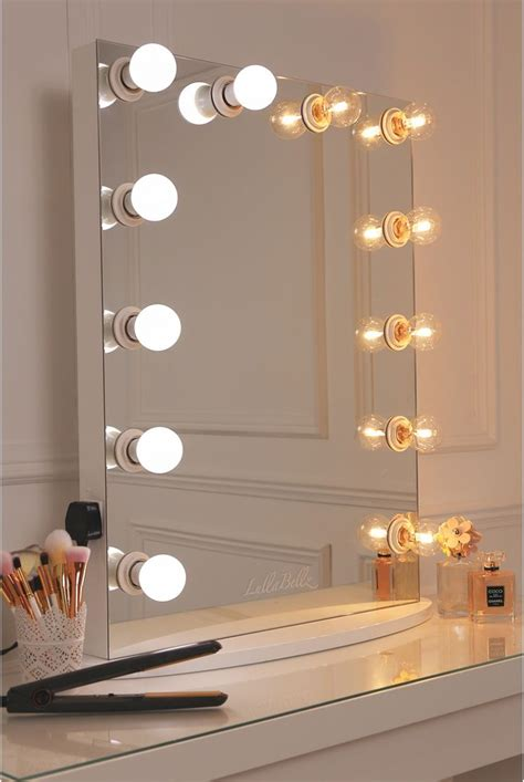 white desk with mirror and lights vanity mirror with a pure white finish framed with 12 led