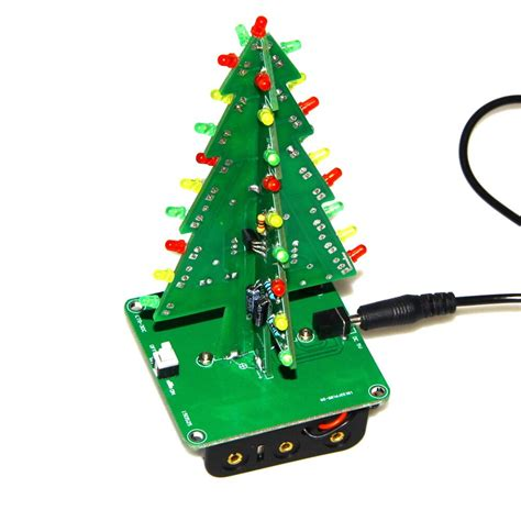 three dimensional 3d christmas tree led diy kit red green