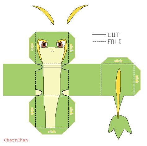 Easy Papercraft Templates - snivy papercraft by charrchan on deviantart
