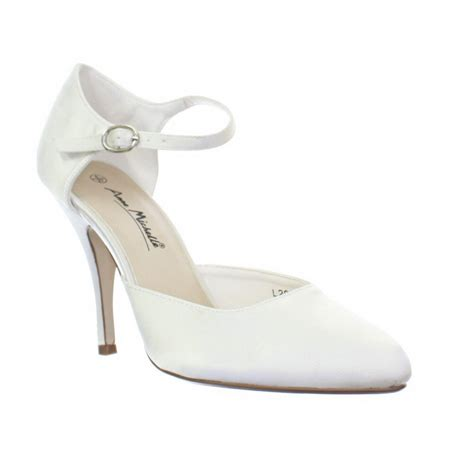 Mid Heel Wedding Shoes by Womens Ankle Ivory Satin Bridal Wedding Bridesmaid