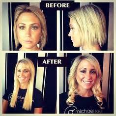 see what a difference quality extensions make before from short to long with micro rings hair extensions