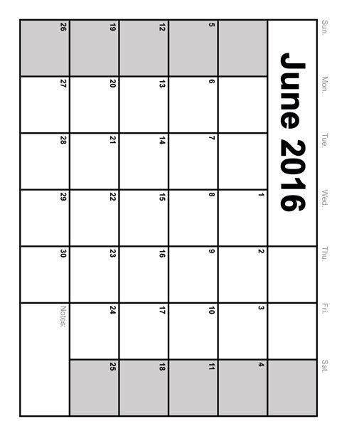 Calendar For June 2016 June 2016 Calendar Printable Template 8 Templates