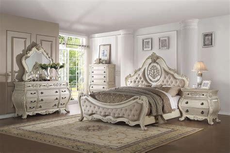 acme furniture bedroom set in white ac01660tset 4 piece acme ragenardus antique white bedroom set