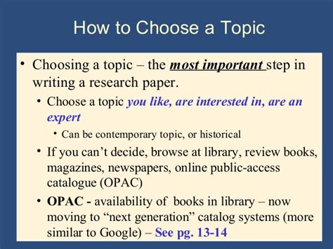 selecting a topic for a research paper writing the research paper a handbook 7th ed ch 2