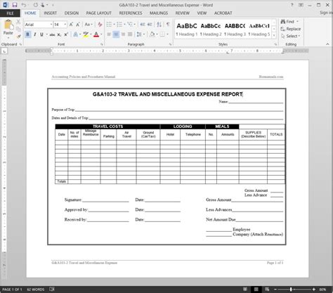 accounting report template travel miscellaneous expense report template