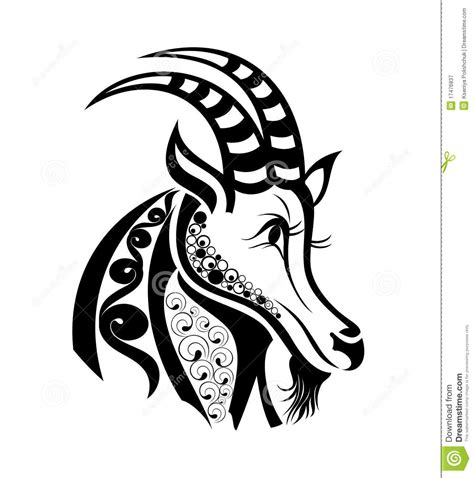 vector signs of zodiac capricorn tattoo design stock