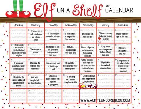 printable elf on the shelf calendar 2017 elf on the shelf 2014 calendar a little moore