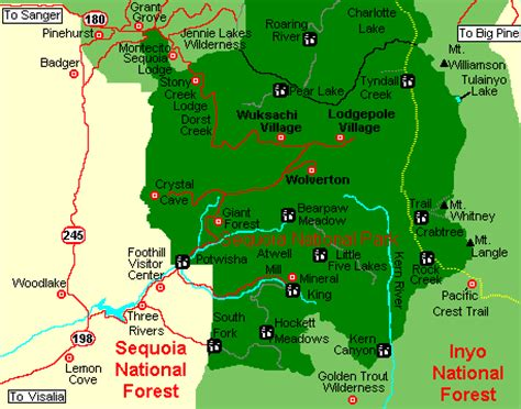 sequoia national park map sequoia national park area map