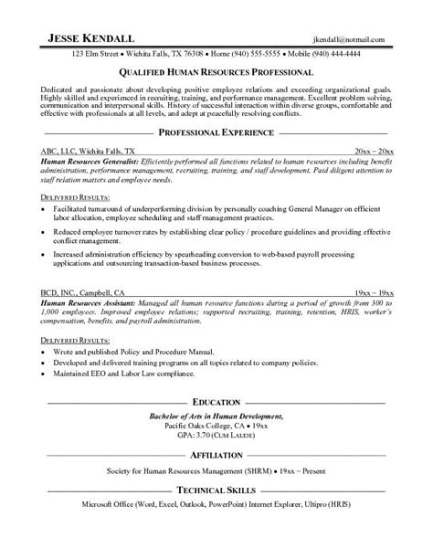 Hr Resume Objective by Resume Objective Human Resources Free Resume Templates