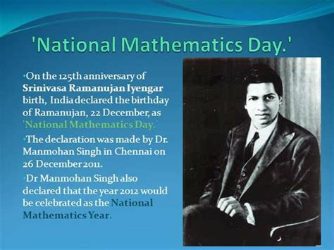 a presentation on mathematicians national mathematics day authorstream