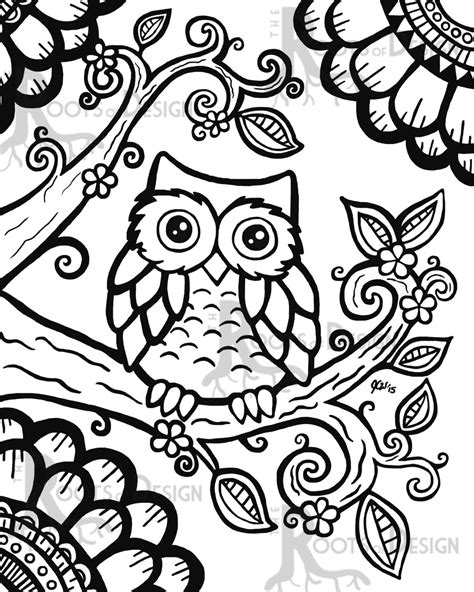 cute pattern colouring pages instant download coloring page cute owl zentangle by
