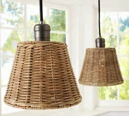Chandelier Shades Set Of 6 Wicker Shade Pendant Track Lighting Pottery Barn