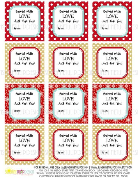 free printable christmas gift tags for baked goods printable quot baked with love quot food gift tags baked goods