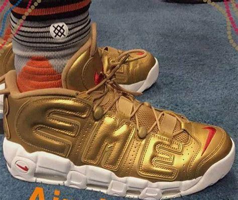 Nike Uptempo X Supreme Gold Premium supreme x nike air more uptempo gold release date sneakerfiles