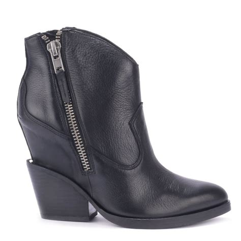 ash lenny black leather boots