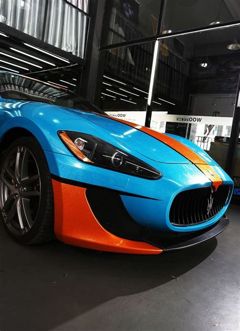matte orange maserati maserati gran turismo gulf cars auto speed race blue