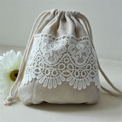 Handmade Drawstring Bags - lace decoration handmade storage drawstring tote jewelry