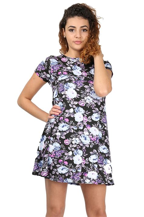 ladies swing dresses womens floral doogtooth print short sleeve bodycon ladies