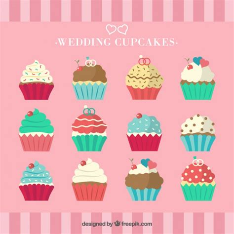 collection of cupcakes vector free download