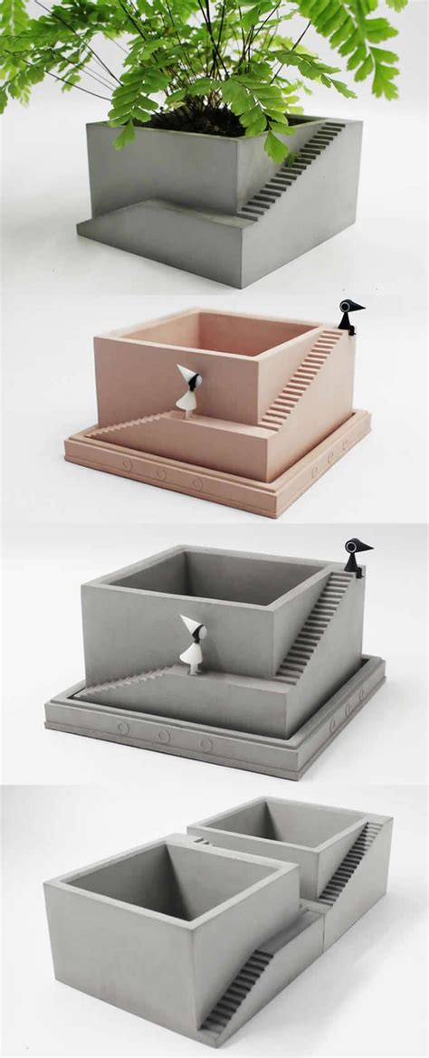 handmade concrete architecture stairs office desk