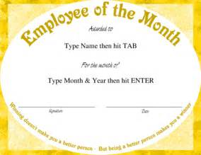 employee of the month certificate template award certificate templates