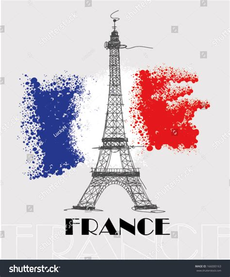 0008100594 when in french love france eiffel tower flag france love stock vector