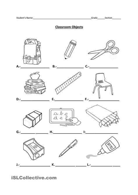 classroom objects materials