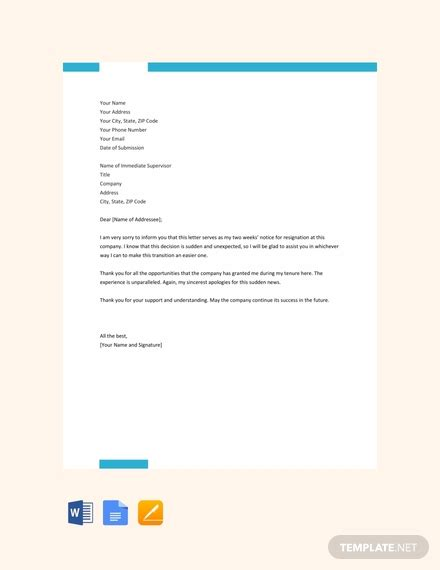 weeks notice resignation letter template