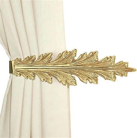 curtain rod tie backs vintage pair curtain tie back holder fern leaf bright
