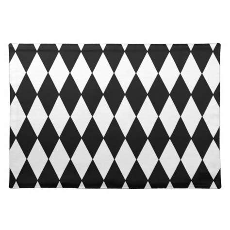 black and white harlequin pattern fabric black white harlequin pattern placemat zazzle