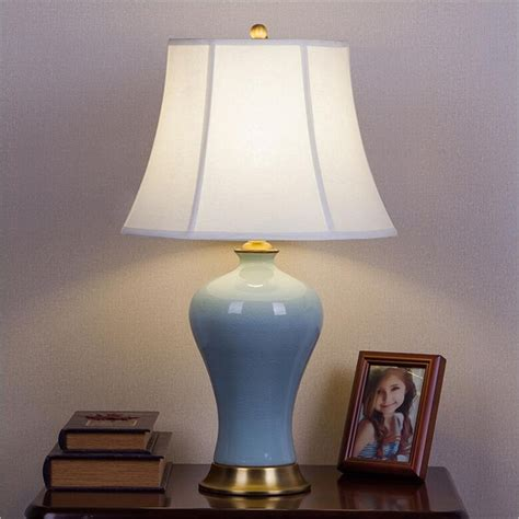 table lamps for bedrooms high end 100 handmade chinese blue ceramic fabric led e27 17454 | High End 100 Handmade Chinese Blue Ceramic Fabric Led E27 Table Lamp for Living Room Wedding