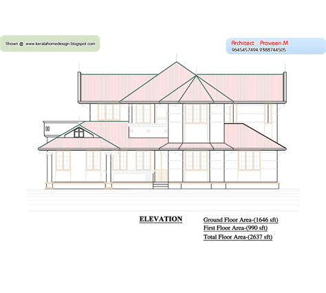 home plan and elevation 2637 sq ft kerala home design