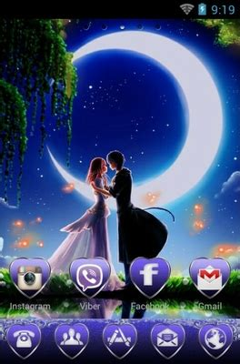romantic theme download for android romantic moonlight android theme for go launcher
