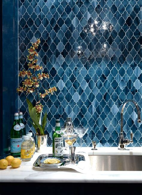 arabesque blue stained glass tile bar backsplash http